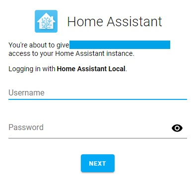 Log-in Home Assistant