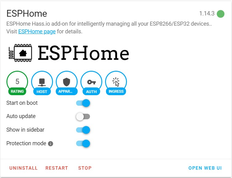 ESPHome Add-on reboot