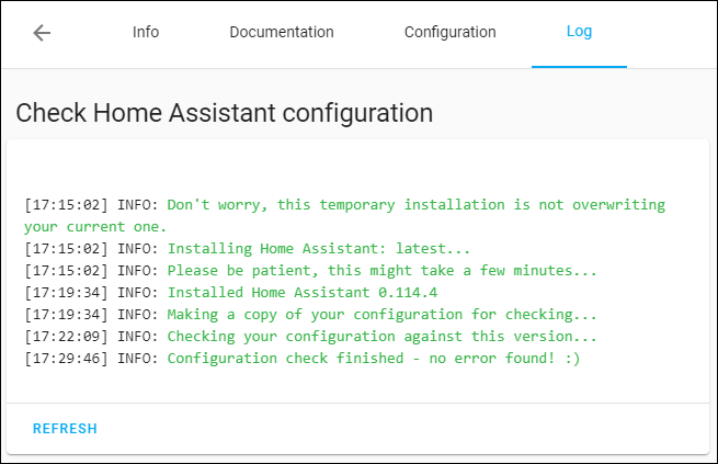Check Home Assistant Configuration Log