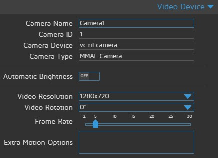 motionEyeOS Video Device settings